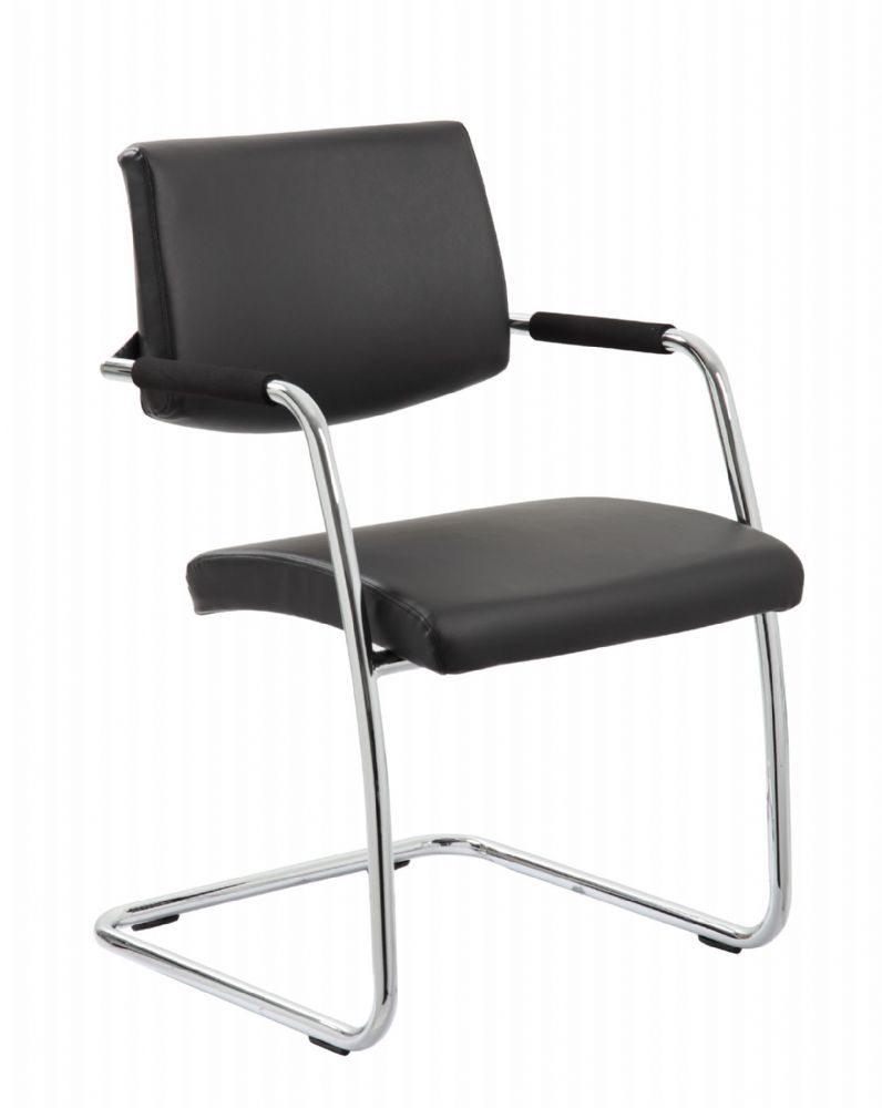 **SPECIAL OFFER Havanna Cantilever Visitors Chair Chrome Frame Padded Arms Black Bonded Leather